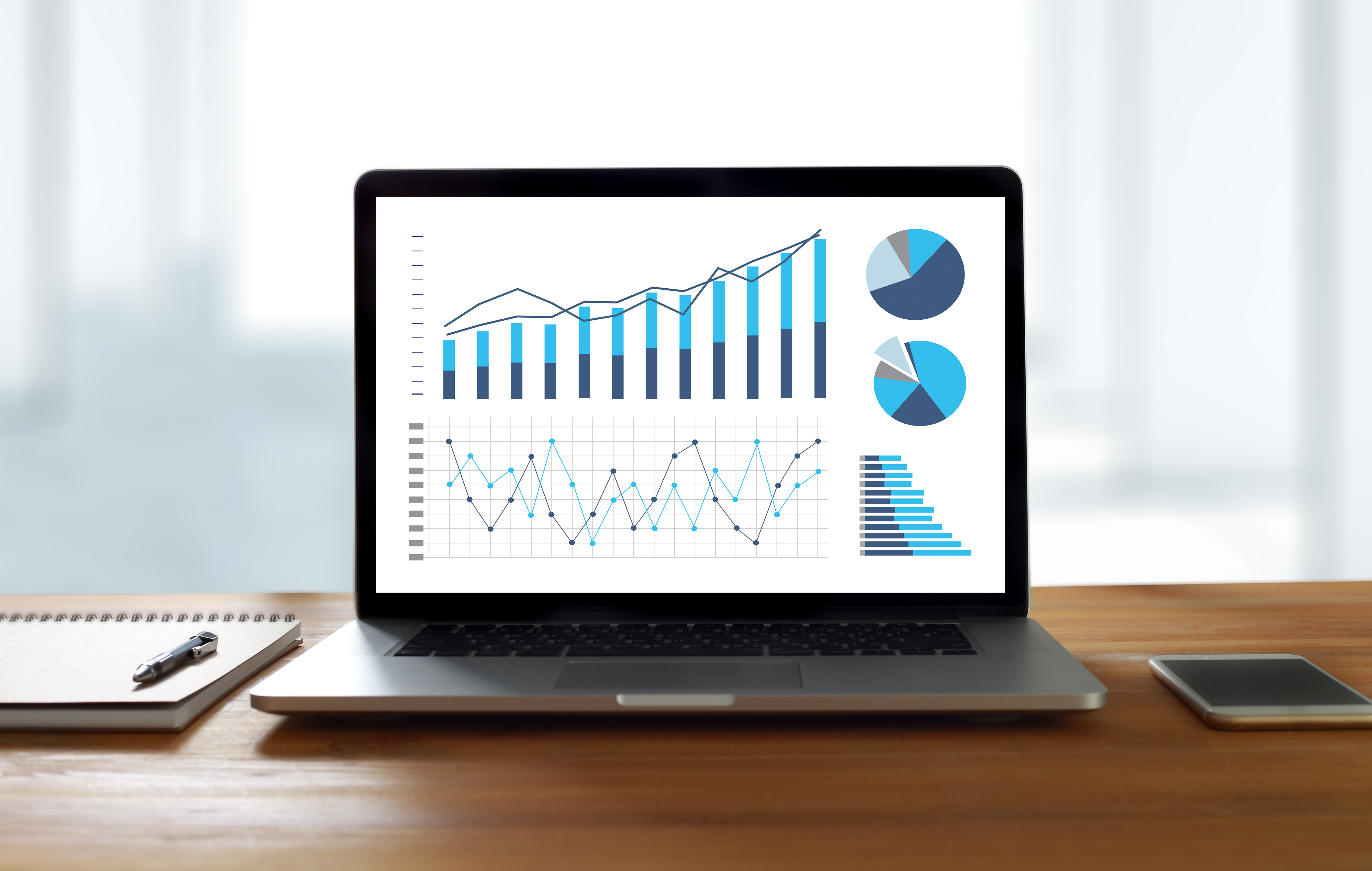 Statistics Analysis Business Data Diagram Growth Increase Marketing Concept , digital tablet and graph financial with social network diagram